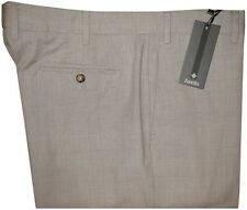 $295 NWT ZANELLA SPRING SUMMER FAINT TAUPE PLAID LIGHT COTTON DRESS PANTS 40