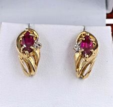 10K Yellow Gold Lab Created Ruby And Diamond Accent Push Back Earrings
