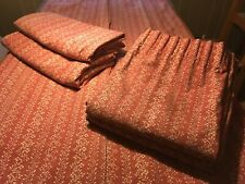 """ONE Pair of Vintage Old Laura Ashley Curtains Red Russet Cream W66"""" X D66"""" Lined"""