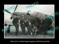 OLD POSTCARD SIZE PHOTO POLAND MILITARY POLISH FIGHTER SQUAD RAF BRENZETT 1943