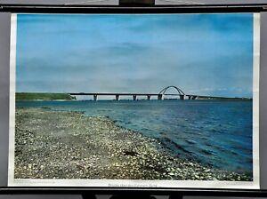 maritimes Rollbild retro Wandkarte Landschaft Poster Fehmarn Sund Brücke Ostsee