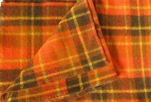 "Vintage Retro 100% Wool Blanket Autumn Orange & Brown Plaid 58"" x 82"""