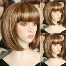 Sexy Brown Mix Gold Blonde Short Straight Bob Women Lady Girl Hair Wig Wigs +Cap