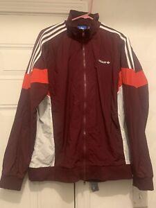 NWOT Adidas Track Suit Burgundy; Both Pants And Jacket Fleece Lined Adult Large