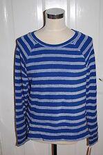 New Womens Long Sleeve Multi Color Blue Striped Merona Shirt Size M