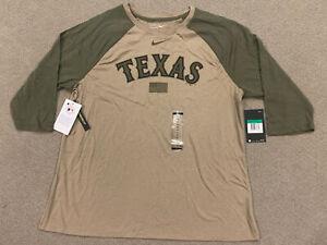 Nike Tee MLB Texas Rangers Military Olive Green Khaki 3/4 Sleeve Shirt Womens XL
