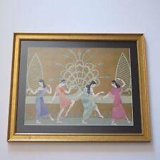 ANTIQUE 1910-1920'S ART DECO ORIGINAL MODERN ART PAINTING DANCING POSING WOMEN