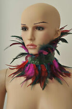 Latex/Rubber  feather collar/ choker in Metallic green with feathers shown