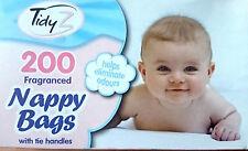 200 PK ordenado Z desechables Corbata mango con aroma a bebé Cambio de Pañales Bolsas Perfumada