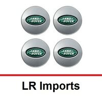 OEM Set of 4 Land Rover Range Rover Silver and Green Center Wheel Hub Caps