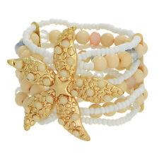 Starfish White Beige Seed Bead Beach Sea Life Jewelry 7 Strand Stretch Bracelet