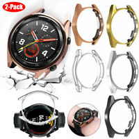 2Pcs Clear/Electroplated TPU Case For HUAWEI WATCH GT/GT 2 46mm Soft Shell Cover
