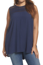 New Daniel Rainn Womens Size 3X Plus Size Lace Yoke Top Blouse Shirt Navy Blue
