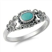 Sterling Silver Oval Floral Turquoise Ring - Free Gift Packaging