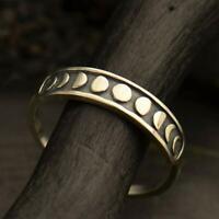 Handgefertigte Vintage Silver Moon Phase Finger Ring Mond Band Schmuck Größe