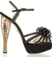 $2K CHARLOTTE OLYMPIA Birds of Paradise Crystal-Embellished Black Sandals 41/11