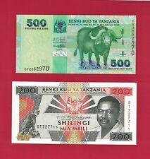 2 UNC TANZANIA Banknotes: 200 Shilingi 1993 (P-25b) & 500 Shillingi 2003 (P-31a)
