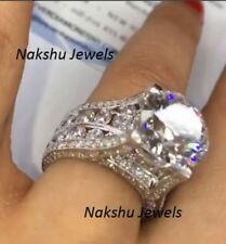 3Ct I-J White Color Round Moissanite 925 Sterling Silver Engagement Ring Antique