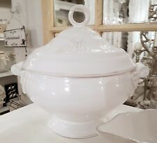 Geschirrserie Monogramm Suppenterinne Groß Weiß Porzellan Shabby Vintage Küche