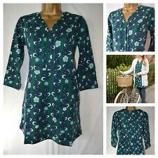 NEW BRAKEBURN TRAILING FLOWER TUNIC DRESS TEAL NAVY FLORAL V NECK SIZE 8 - 18