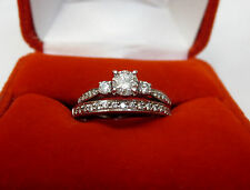 Diamond Solitaire With Accents Engagement Ring & Wedding Band Set 14k White Gold