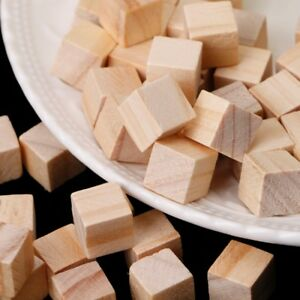 DIY 10-75mm Crafts Cube Blocks Decor Handmade Square Wooden Bead Handcrafts