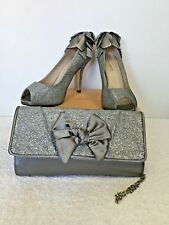 THE ESSENCE MENBUR SILVER/ GREY GLITTER PEEPTOE HEELS & MATCHING BAG SIZE 7.5/41