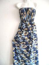 Women long maxi summer beach army miltary CAMO/CAMOUFLAGE casual sundress BLUE M
