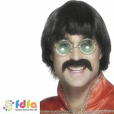 MENS 60's 70s  BLACK MERSEY SCOUSE BEATLES WIG & TASH - mens fancy dress costume