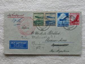 Luftpostbrief Zeppelin Südamerikafahrt 1936, von Berlin nach Argentinien