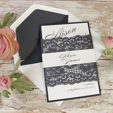 Vintage Navy Blue Lace Rustic Wedding Day Invitation Personalised Sample