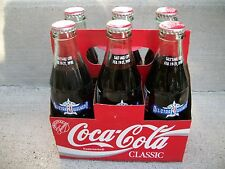 6 PACK 1993 NBA ALL-STAR GAME 8OZ FULL COKE COCA COLA BOTTLES with CARRIER