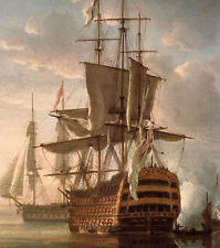 Oil painting Turner - The Battle of Trafalgar nice seascape & huge sail boats