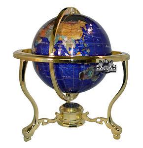 "13"" Bahama Blue ocean Gold 3- leg table stand Gem MOP Gemstone World MAP globe"