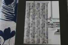 Hillcrest Large Floral Fabric Shower Curtain - Royal Blue/Navy Blue/Brown