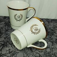 "Set Of 2 ""B"" Monogram Enoch Wedgwood England Golden Ware Coffee Cup Mugs"