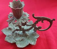 Virginia Metalcrafters Solid Brass Grape Cluster Candle Holder Green Verdigris