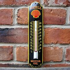 SHELL ENAMEL THERMOMETER vitreous motor oil logo garage sign petrol oil VAC192
