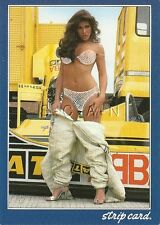 Org Italian Nude Pinup PC- Strip Card- Race Car Woman- Stands Race Car- Shell