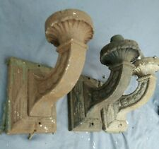 Set 3 Pair +1 Exterior Cast Iron Architectural Wall Sconce Nice Form Ca. 1900