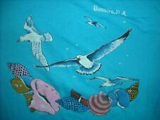 VTG 80S BONAIRE N.A. VACATION BEACH SEAGULL SEA SHELLS SURF SURFER BLUE SHIRT