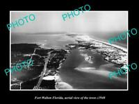 OLD POSTCARD SIZE PHOTO OF FORT WALTON FLORIDA AERIAL VIEW OF THE TOWN c1940