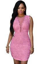 Abito a cono aperto ricamato pizzo nudo trasparente Lace Mesh Mini Party Dress M