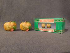 Thanksgiving PUMPKIN salt/pepper shaker set,new,porcelain,NICE, in original box