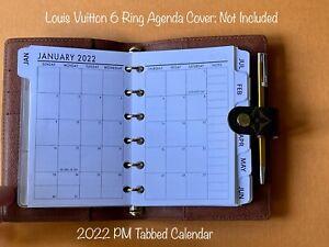 FITS Louis Vuitton PM agenda 2022 or 2021 planner insert calendar + Filler Paper