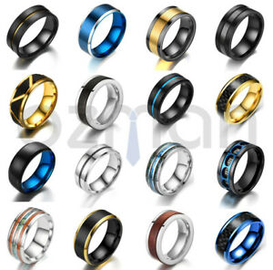 New Men Women Punk Black Silver Gold Titanium Steel Ring Band 29 Collections