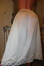 (S1) Soft Cream Nylon& ScallopedLace Half Slip Petticoat Lingerie Size 12-14