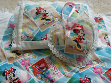 Handmade Dolls Bedding Pram Blanket Quilt,Pillow & Heart Charm Set- Minnie