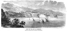MONACO vista della città-antica stampa 1860