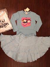 NEW Mini Boden Aqua Petticoat Maxi Skirt & Sequin Jewelry Box Top Set 4 5 6 Fall